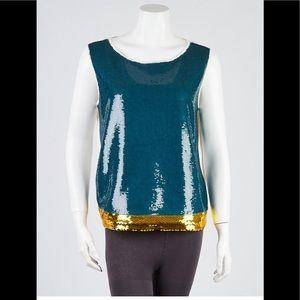 💙 Authentic PRADA Blue 💙 Gold Sequin Tank Top